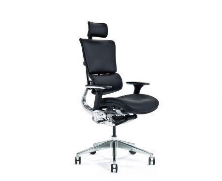 Kožené ergonomické kancelárske kreslo ERGO 900 čierne